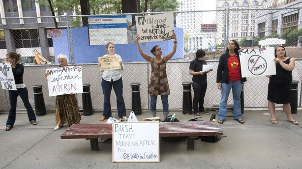 Protesters picket in front of the Jacob K. Javits Federal Building in New York City in 2006 for the removal of an age limit on the morning-after pill.