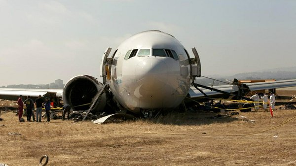 An image provided by the NTSB shows the nose section of Asiana Airline Flight...