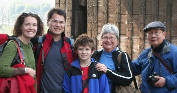 Dave Kung with wife Sarah Tyson (left), stepson Cy Tyson-Brown and parents Sonja and George Kung.