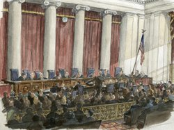 An artist's sketch of the scene during a U.S. Supreme Court hearing earlier t...