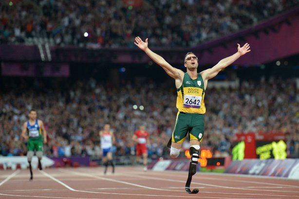 Oscar Pistorius, seen here winning a gold medal at the London 2012 Paralympic Games, faces charges that he murdered his girlfriend. Pistorius also competed in the 2012 Summer Olympics.