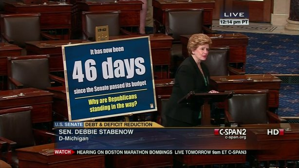 Sen. Debbie Stabenow (D-Mich.) tallies up the days since the Senate passed a budget.