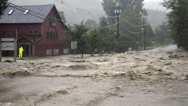 Heavy flooding is seen in Waitsfield, Vt. during Hurricane Irene in 2011.