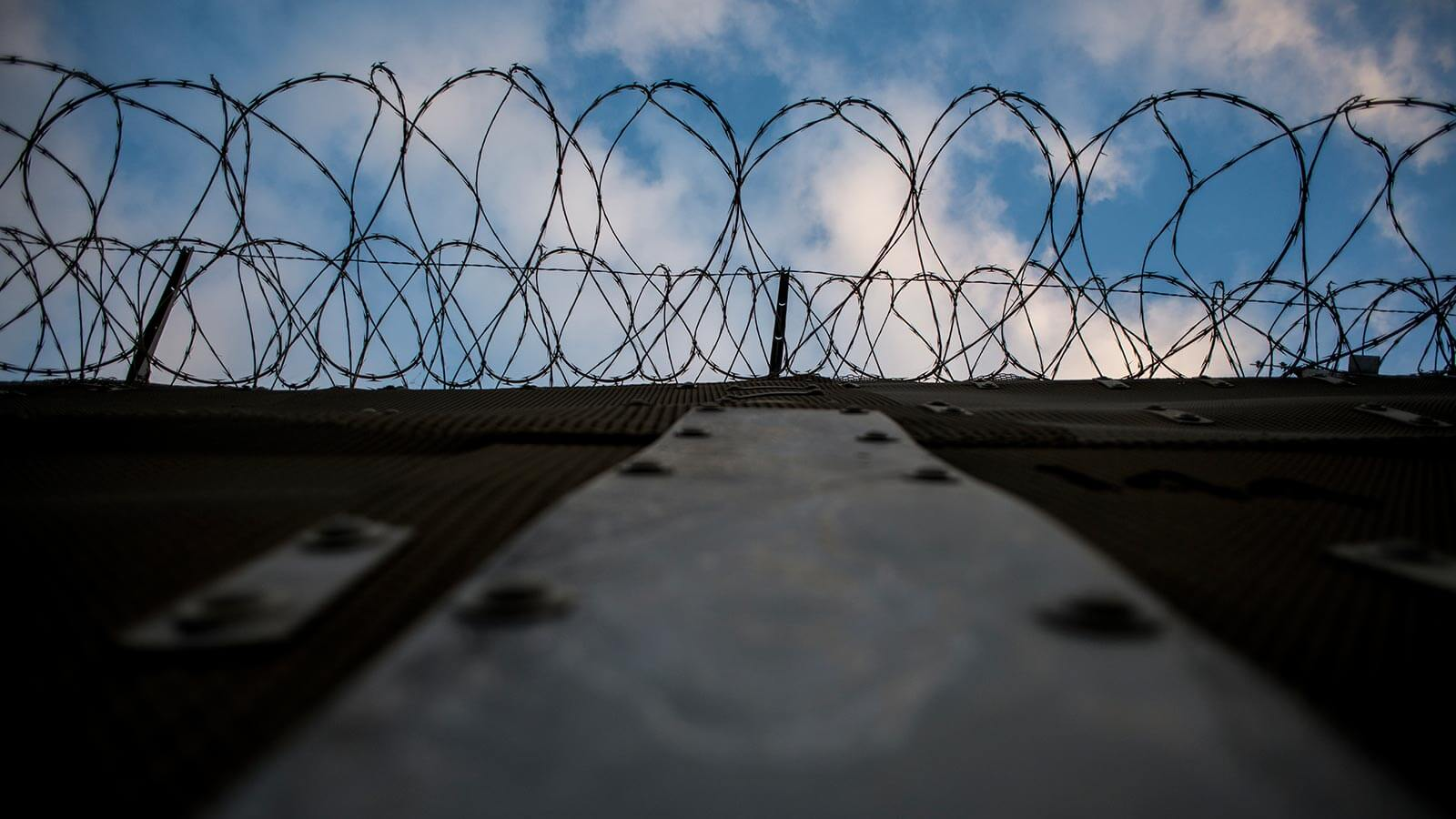 America's Wall, close-up of barbed wire fencing