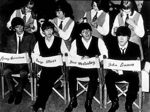 "The Beatles on the set of ""A Hard Day's Night."""