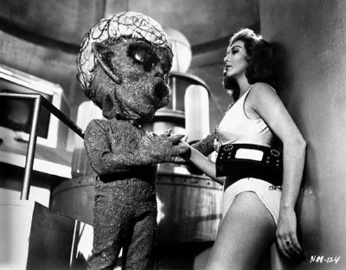 "Va-va-voom! Lorena Velazquez and alien in ""Ship of Monsters,"" a Mexican sci-fi from the Golden Age."